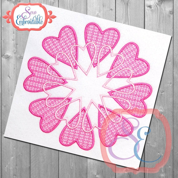 Motif Heart Circle Embroidery Design, Embroidery