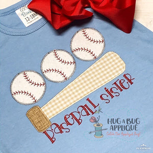 Bat Ball Trio Zig Zag Stitch Applique-Embroidery Boutique