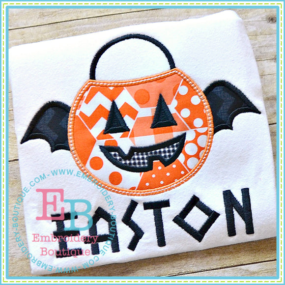 Bat Pumpkin Bucket Applique, Applique