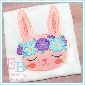 Bunny Floral Crown Applique, Applique