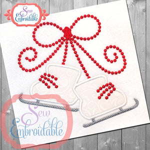 Bow Tied Ice Skates Applique