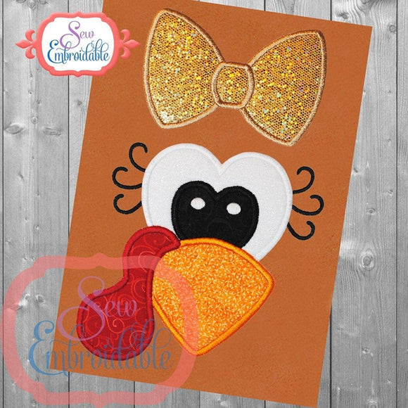 Turkey Girl Face Applique, Applique