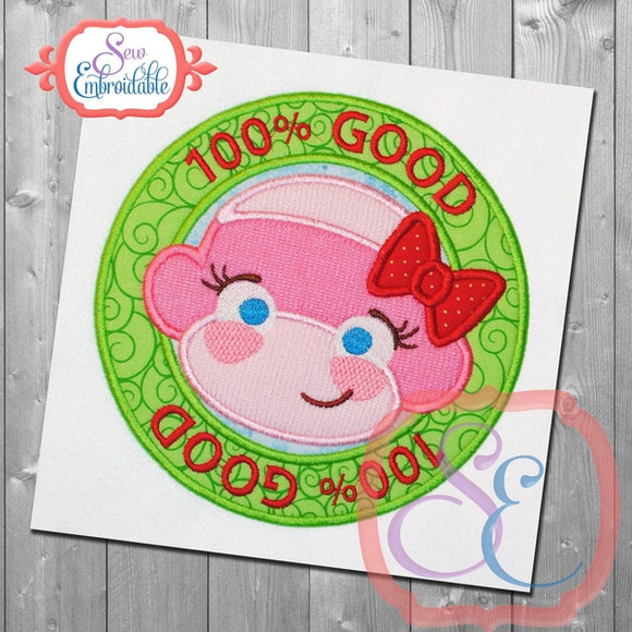 100% Good Girl Monkey Applique