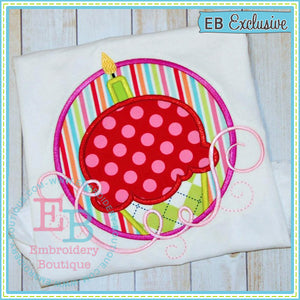 Swirl Cupcake Circle Applique