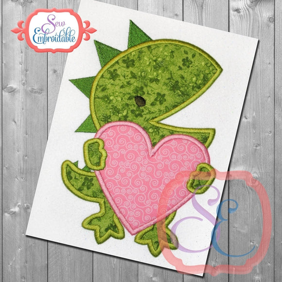 Dinosaur with Heart Applique