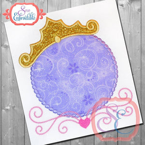 Princess Dotted Monogram Frame, Applique