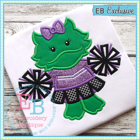 Girl Horned Frog Mascot Applique