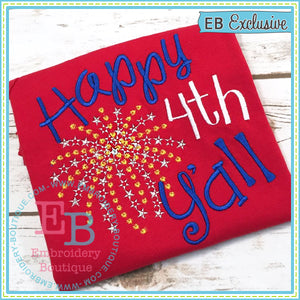 Happy 4th Y'all Embroidery Design - embroidery-boutique
