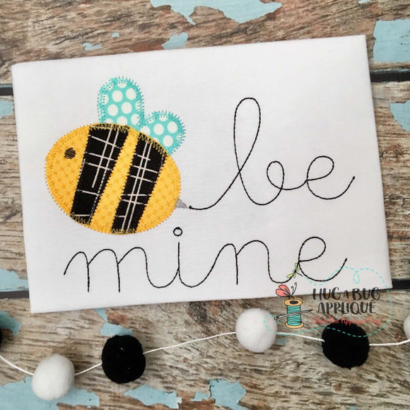 Be Mine Bee Zig Zag Stitch Applique Design, Applique