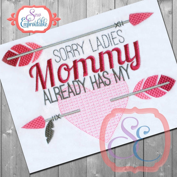 Mommy Has My Heart Embroidery Design, Embroidery