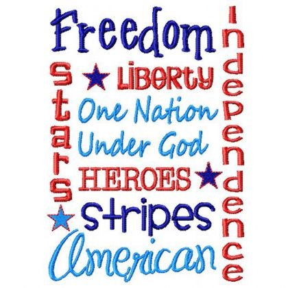 Patriotic Word Art - embroidery-boutique