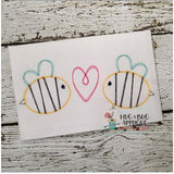 Bees Heart Trio Scribble Stitch Embroidery Design-Embroidery Boutique