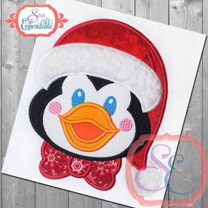 Santa Penguin Boy Applique