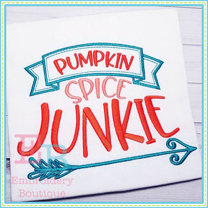 Pumpkin Spice Junkie Design, Embroidery