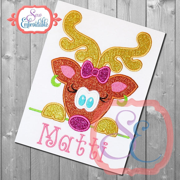 Reindeer Girl Peeker Applique