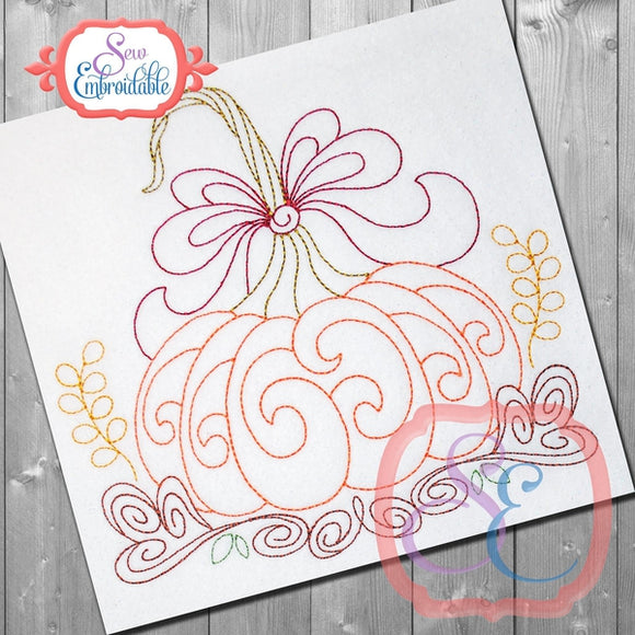 Harvest Pumpkin Bean Embroidery Design - embroidery-boutique