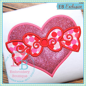 Heart with Bow Applique - embroidery-boutique