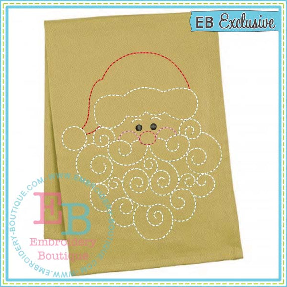 Redwork Swirly Beard Santa Embroidery Design - embroidery-boutique