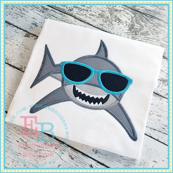 Shark with Shades Applique, Applique