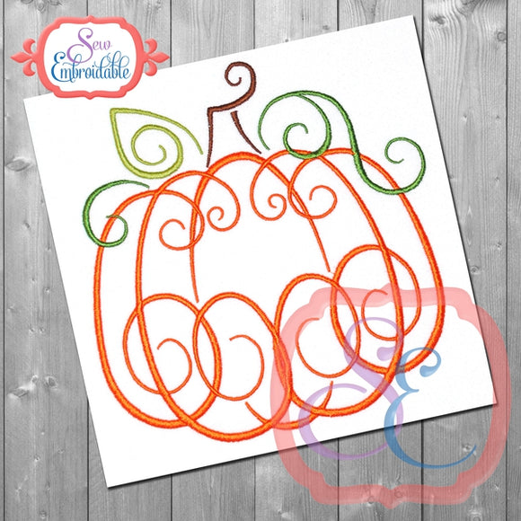 Elegant Pumpkin Embroidery Design, Embroidery