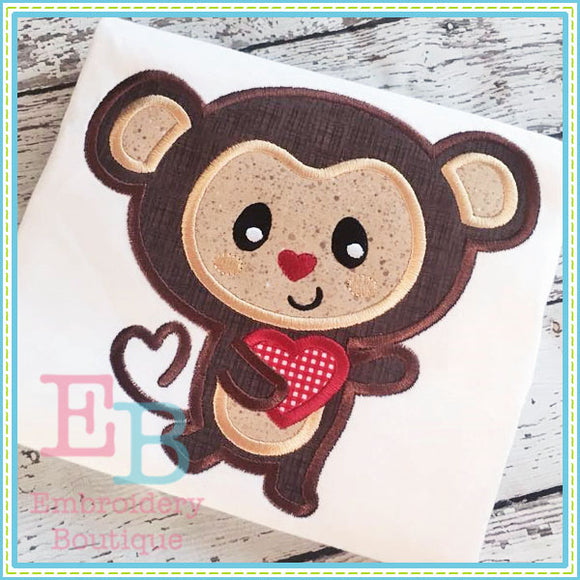 Monkey Heart Tail Applique - embroidery-boutique