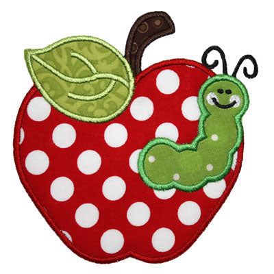 Apple Worm Applique - embroidery-boutique