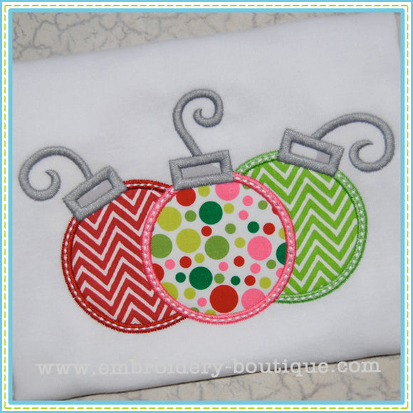 3 Ornaments Applique, Applique