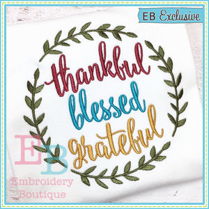 Thankful Blessed Grateful Design, Embroidery