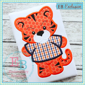 Boy Tiger Mascot Applique, Applique