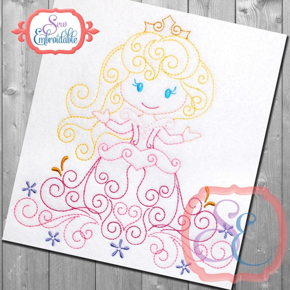 Swirly Princess 3 Embroidery Design, Embroidery