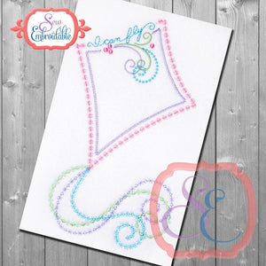 I Can Fly Kite Embroidery Design, Applique