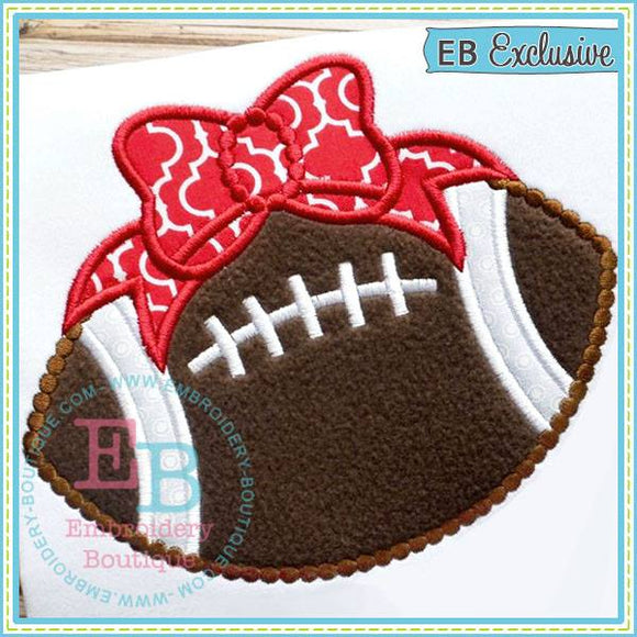 Dotted Football with Bow Applique - embroidery-boutique