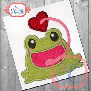 Frog Catching Heart Applique - embroidery-boutique