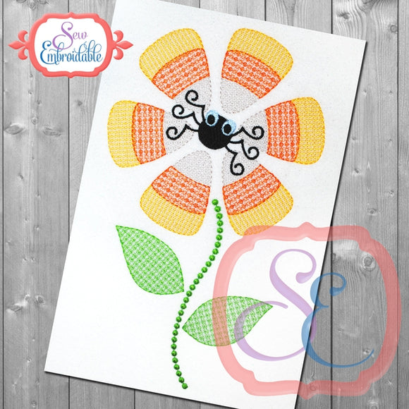 Candy Corn Flower Embroidery Design, Embroidery