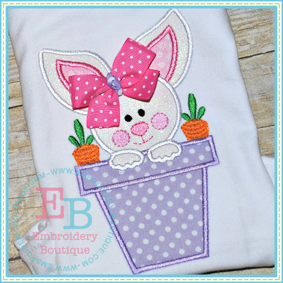 Bunny Pot Applique, Applique