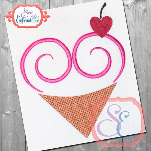 Heart Swirl Cone Embroidery Design - embroidery-boutique