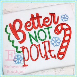 Better Not Pout Applique