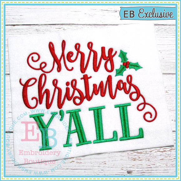 Merry Christmas Y'all Embroidery Design, Embroidery