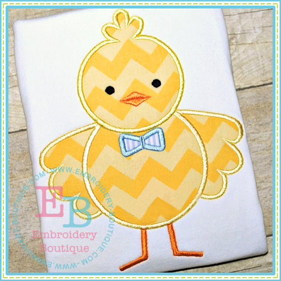 Boy Chick Bow Tie Applique - embroidery-boutique