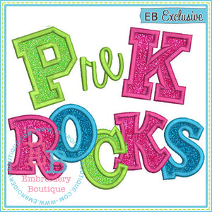 PreK Rocks 2 Applique - embroidery-boutique