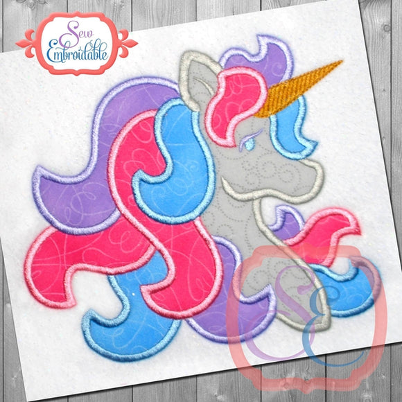 Satin Unicorn Applique - embroidery-boutique