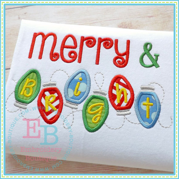 Merry And Bright Applique, Applique
