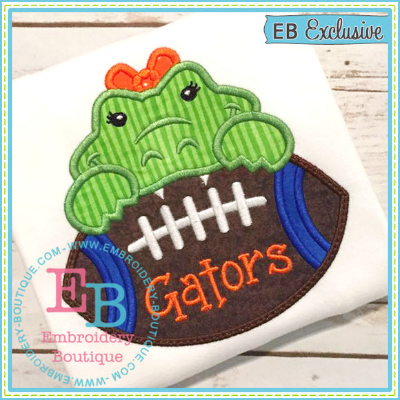 Football Gator Girl Applique, Applique