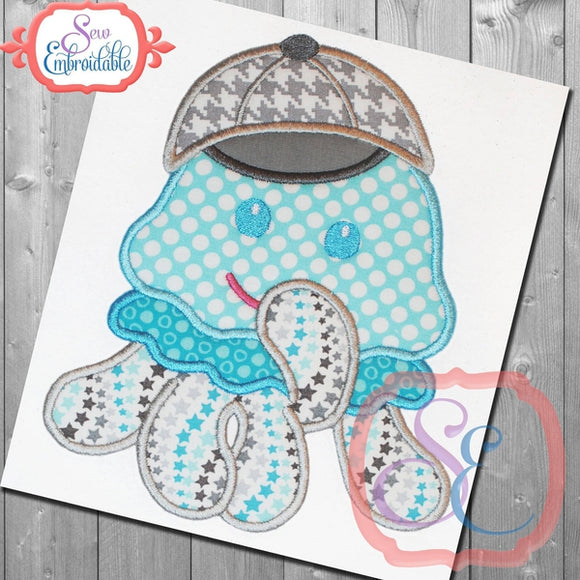 Shy Boy Jellyfish Applique - embroidery-boutique