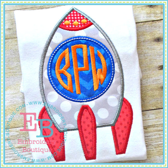 Monogram Rocket Applique, Applique