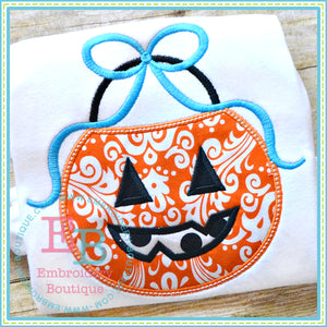 Pumpkin Bucket Bow Applique, Applique
