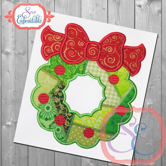 Patchwork Wreath Applique, Applique