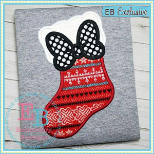 Stocking Bow Applique - embroidery-boutique