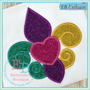 Fleur Heart Applique - embroidery-boutique