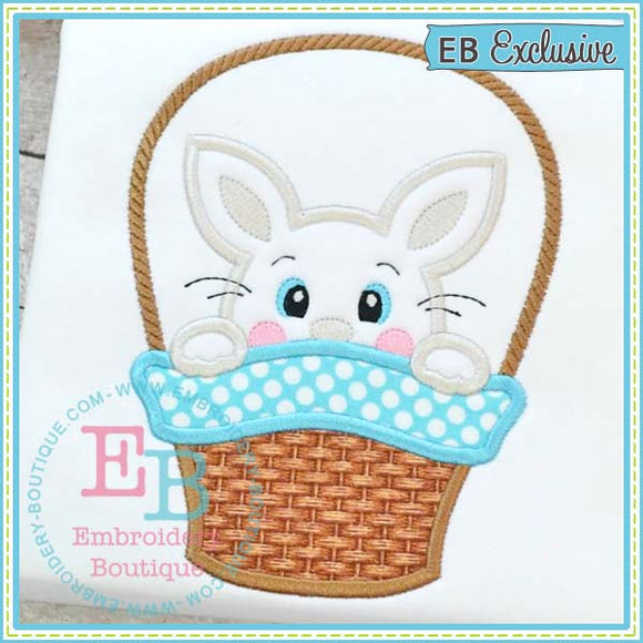 Bunny Peeker Basket Boy Applique